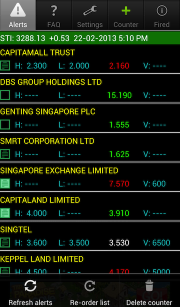 Android SG Stock Alert